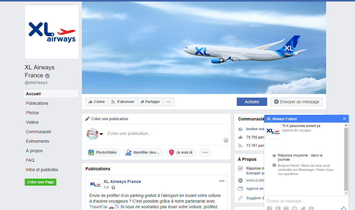 Facebook XL Airways
