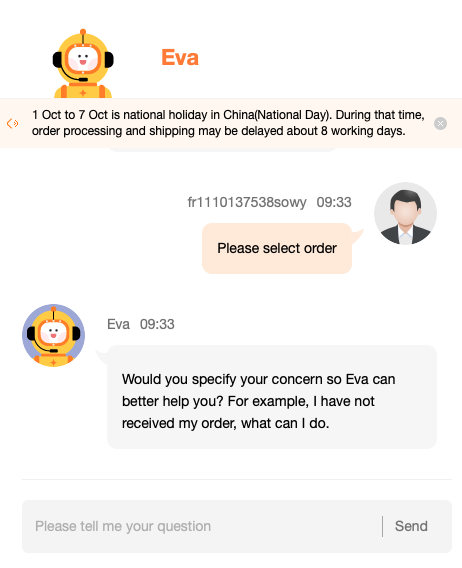 Servie client chat aliexpress