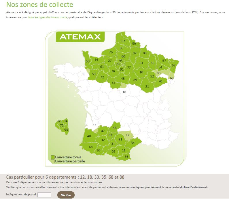 zones de collectes Atemax
